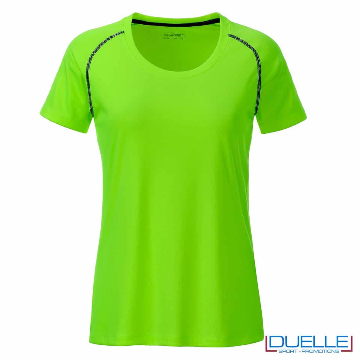 maglia verde fluo sport femminile