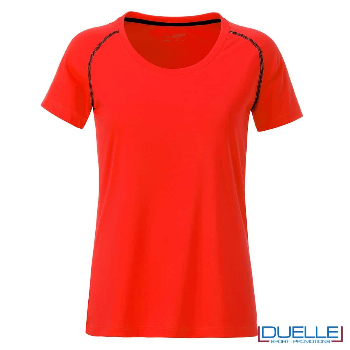 maglietta arancio fluo fitness femminile