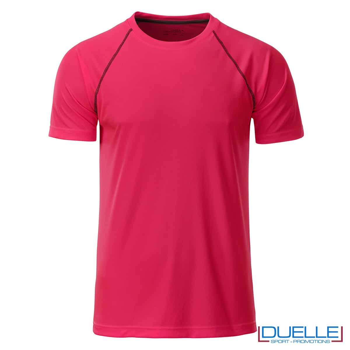 maglia rosa fluo fitness uomo