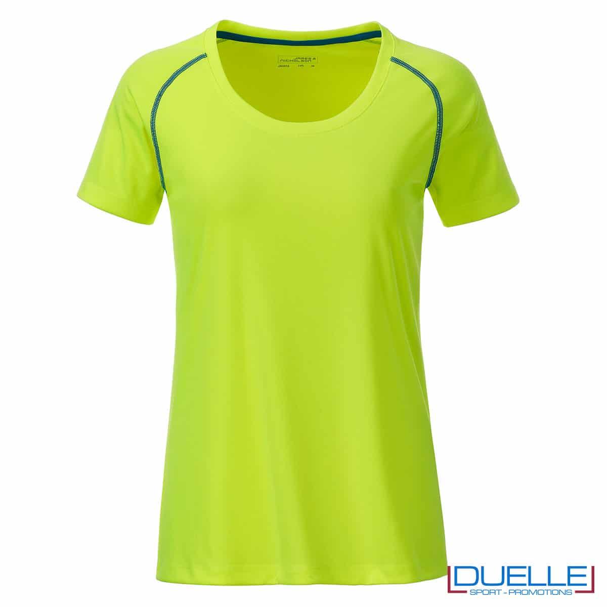 maglietta traspirante da donna giallo fluo