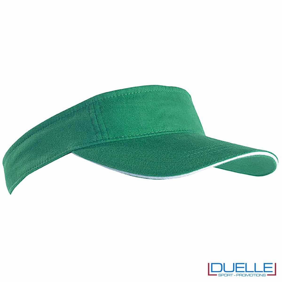 cappello con visiera a sandwich verde e bianco