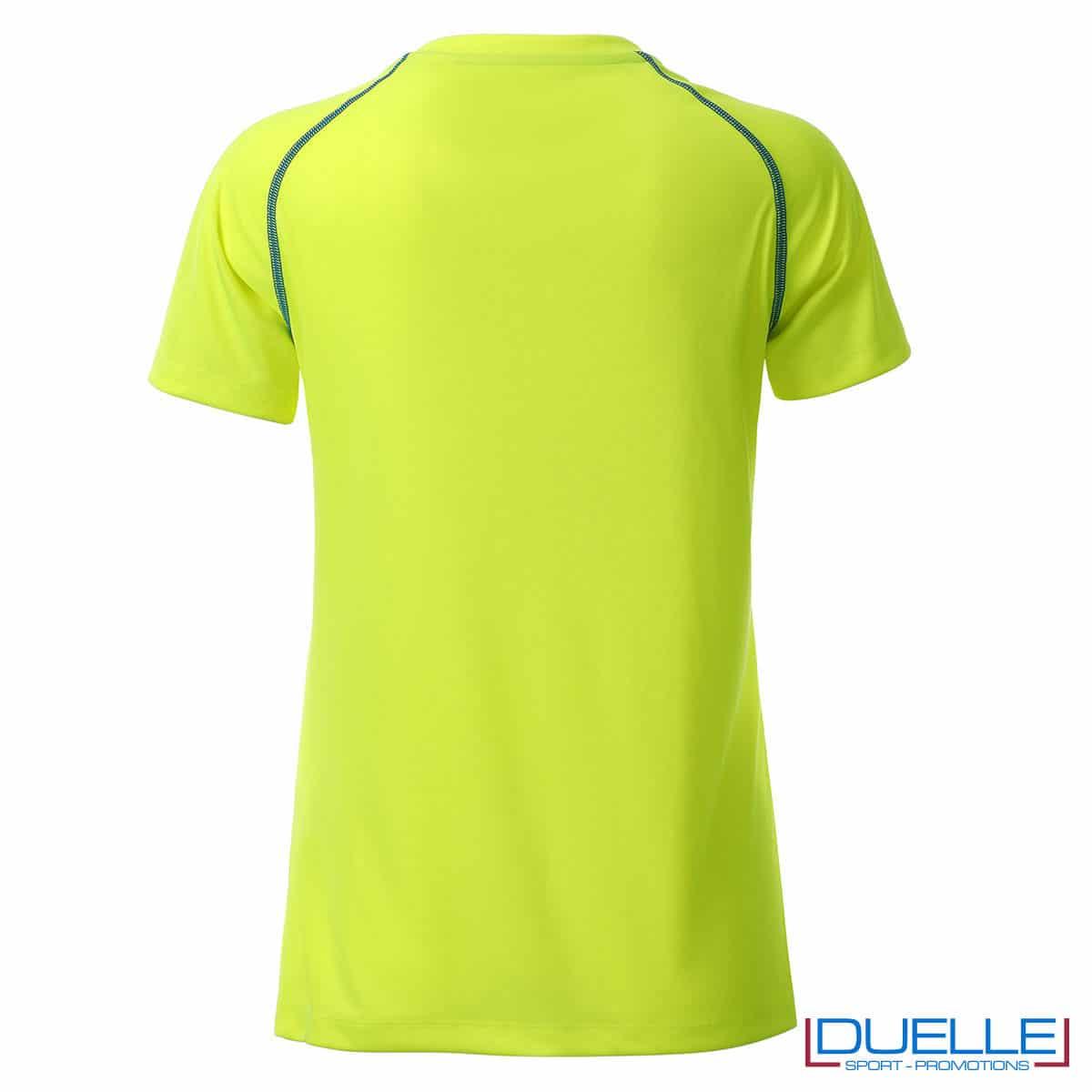 retro maglietta giallo fluo sport femminile