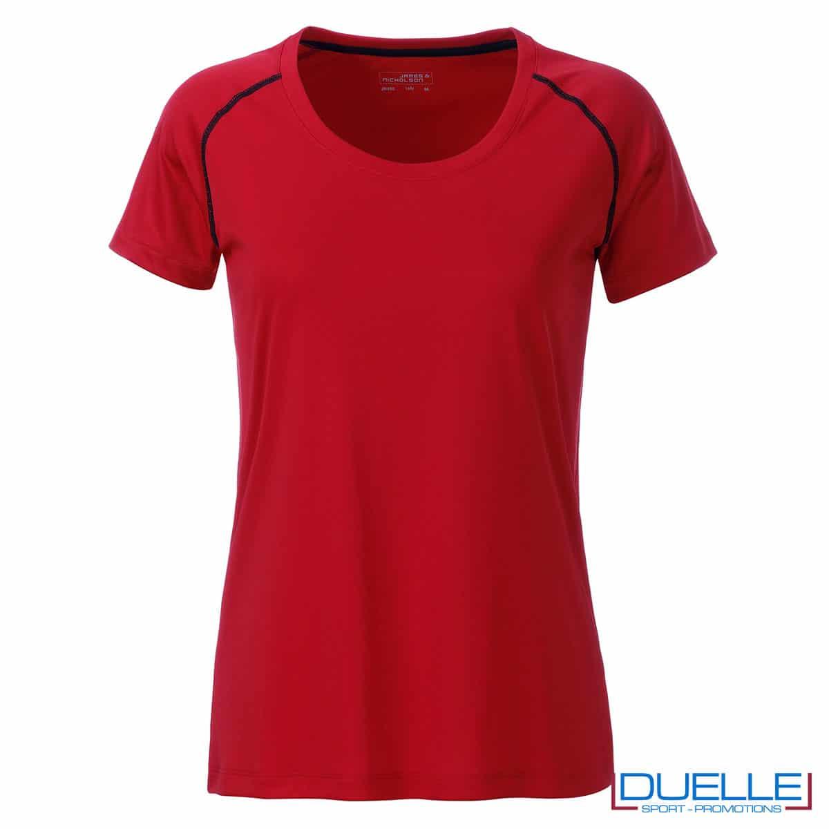maglia rosso e nero da donna per fitness