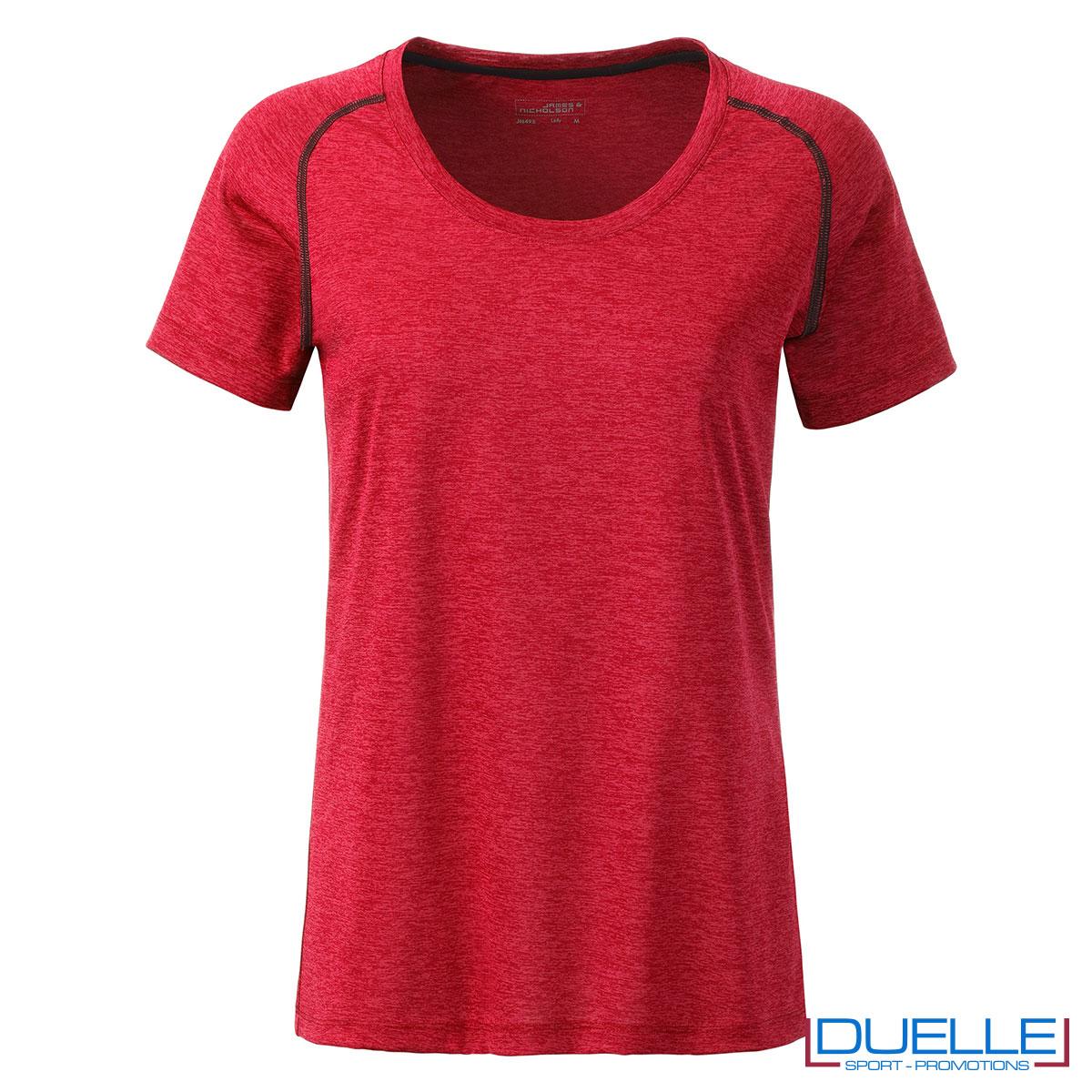 maglia rosso melange per fitness femminile