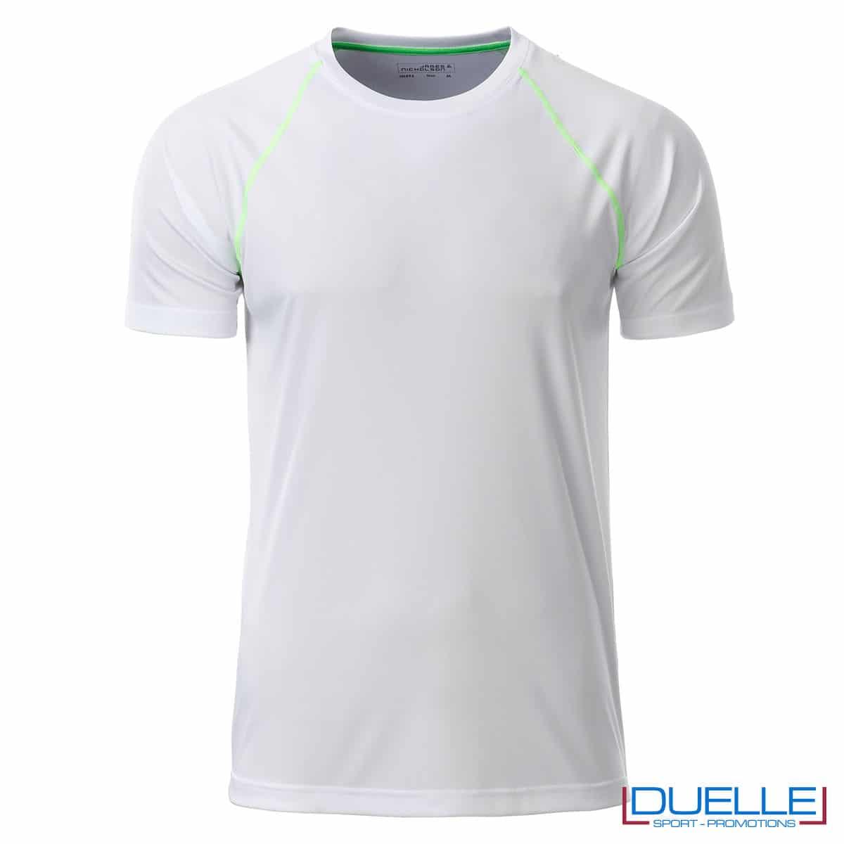maglia traspirante uomo bianco e verde lime