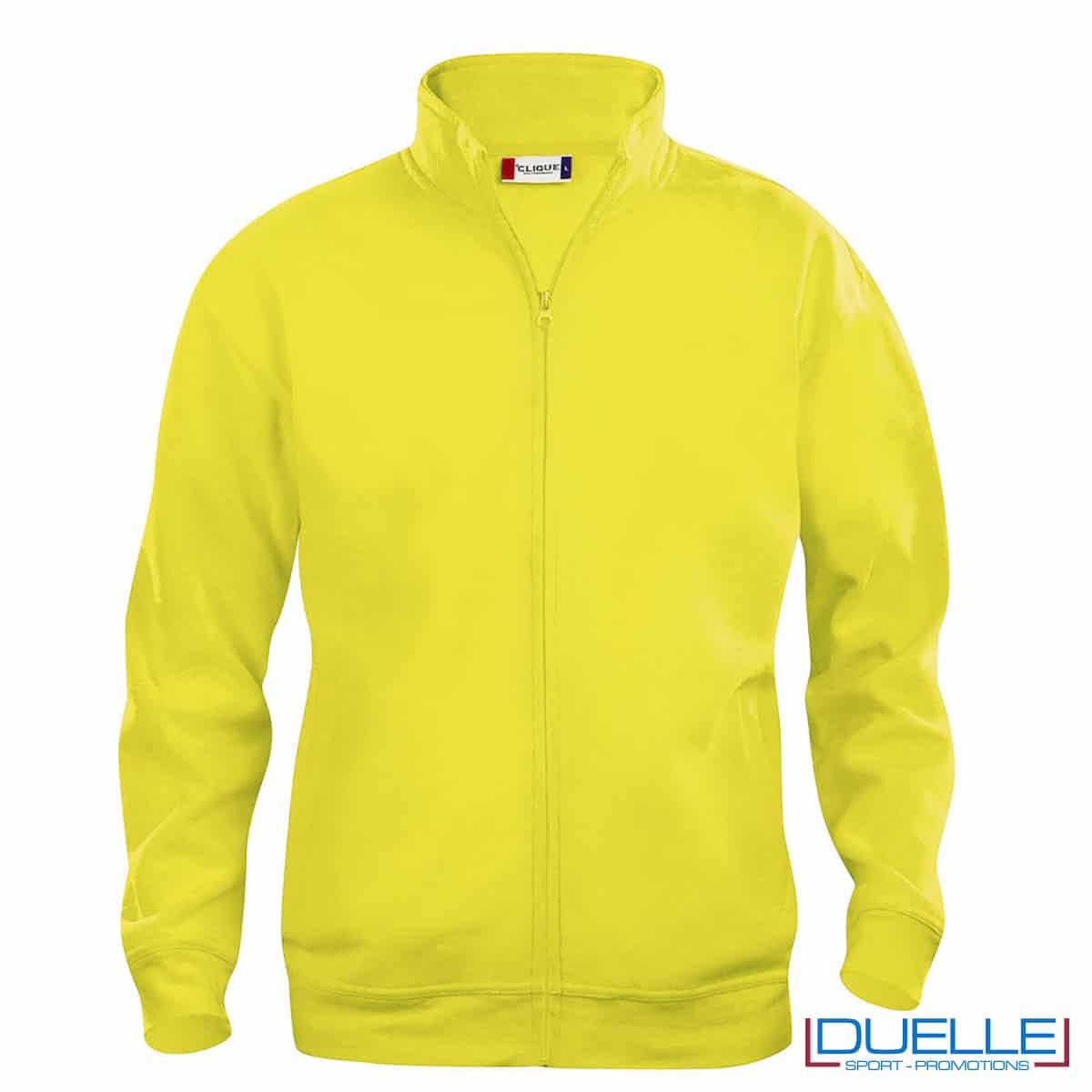 felpa con zip gialla da uomo