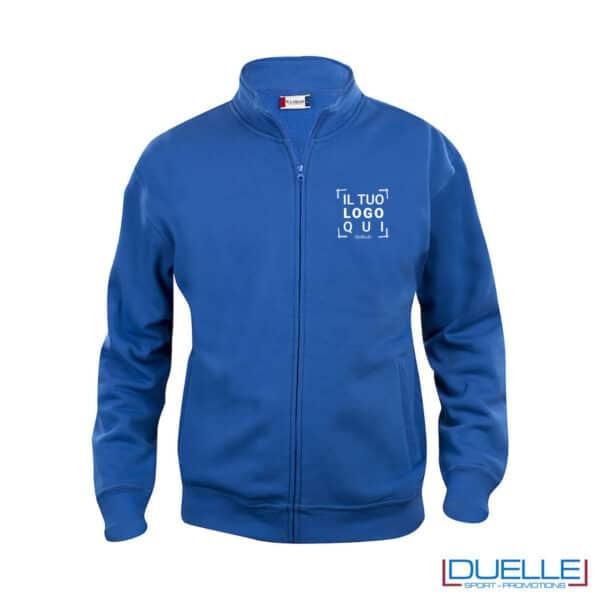 felpa con zip da uomo blu royal con logo