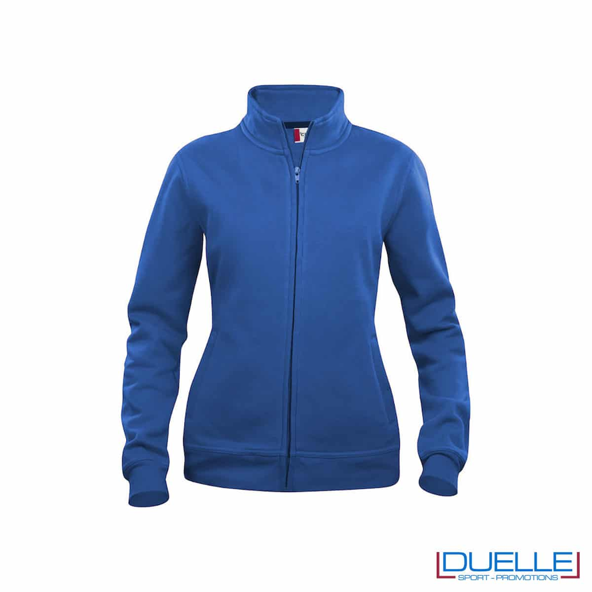 felpa blu royal con zip da donna