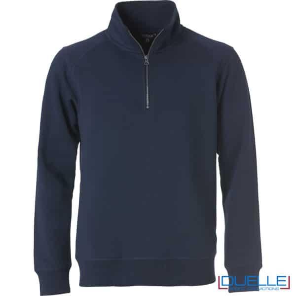 felpa blu scuro con mezza zip