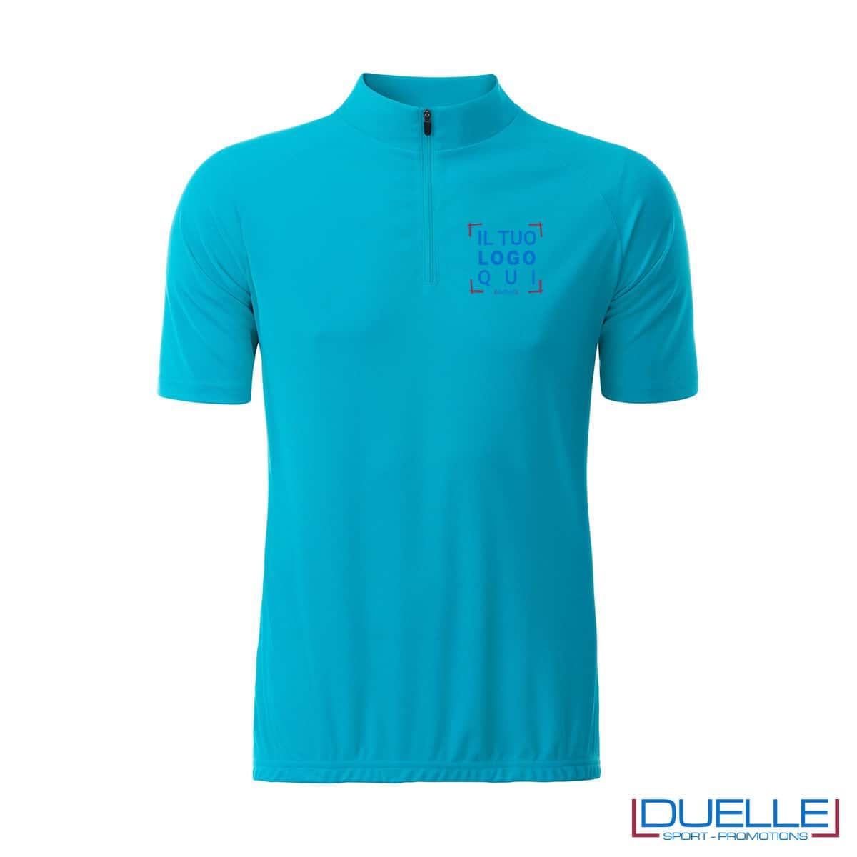 polo azzurra mezza zip con logo per biking