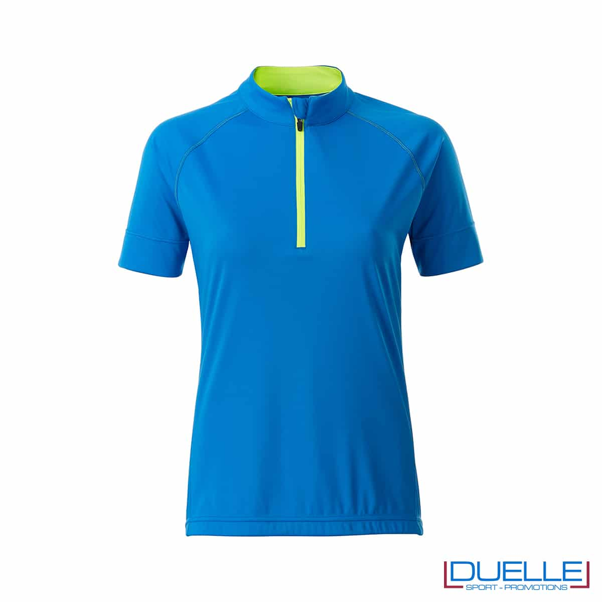 polo femminile da ciclismo colore azzurro