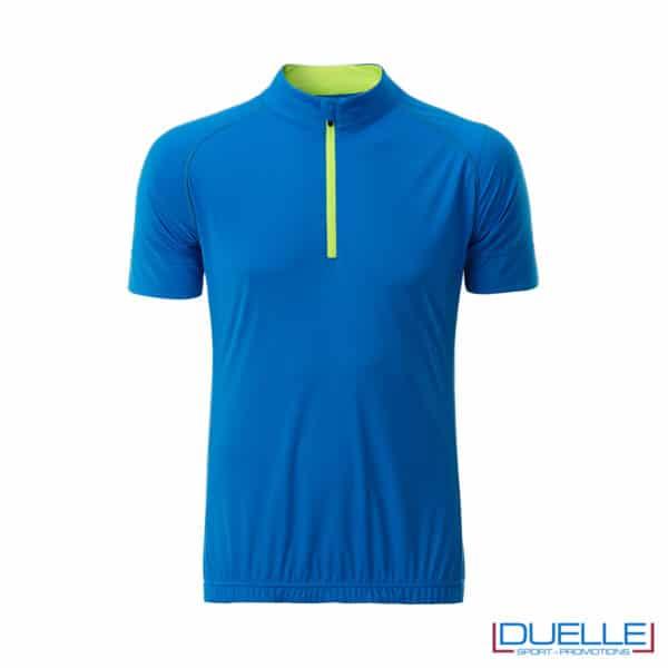 polo azzurra ciclismo maschile mezza zip