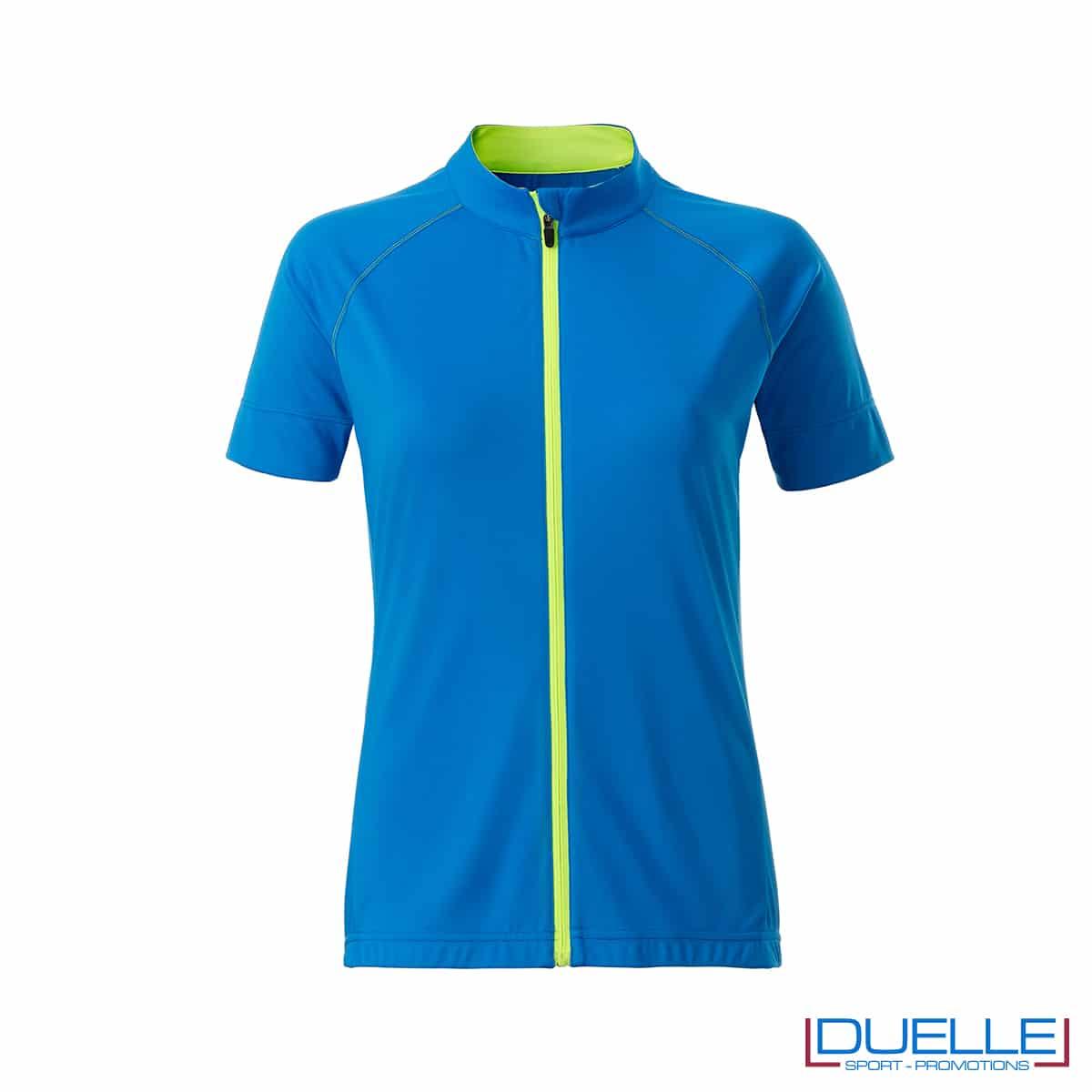 polo azzurra full zip ciclismo femminile
