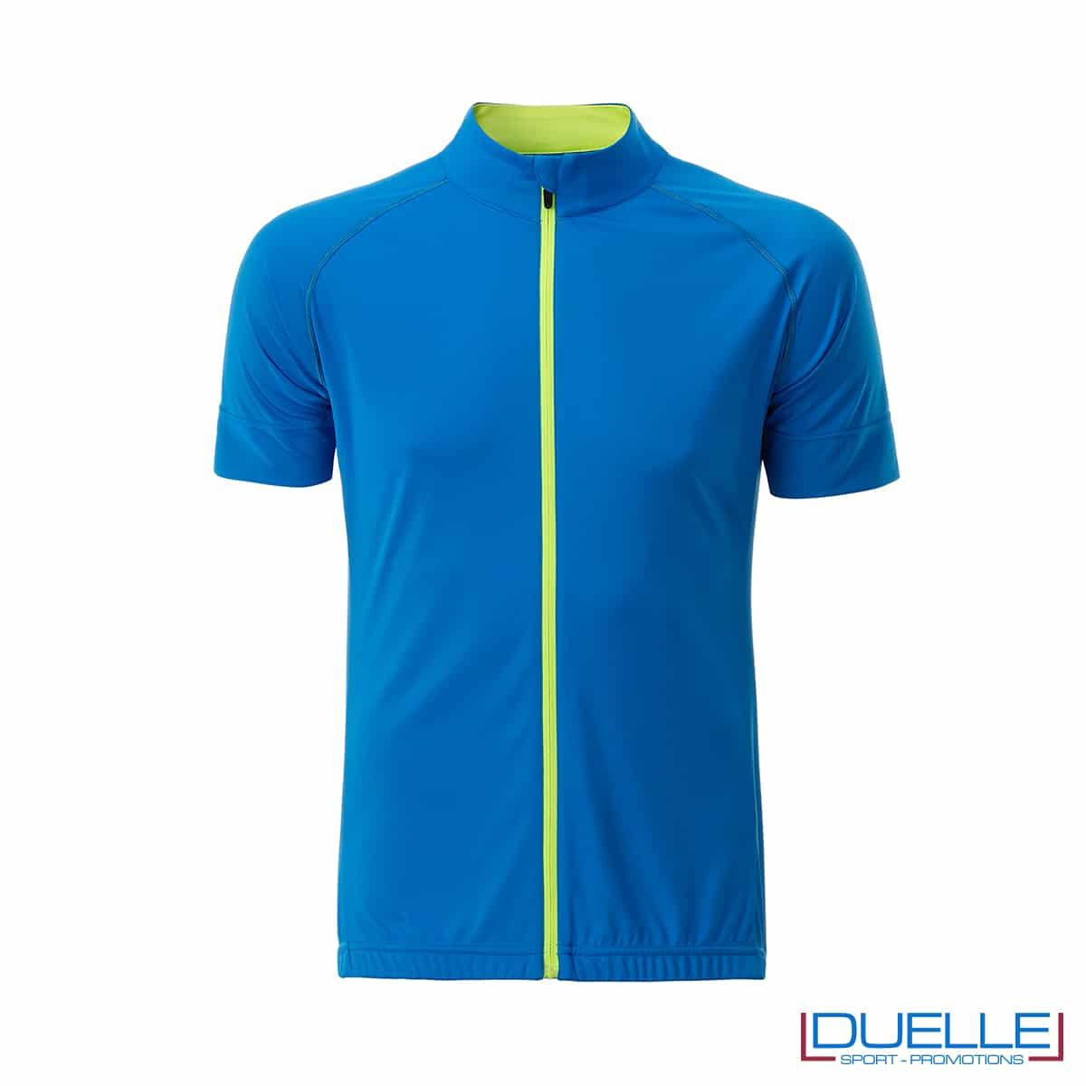 polo con full zip ciclismo maschile azzurra