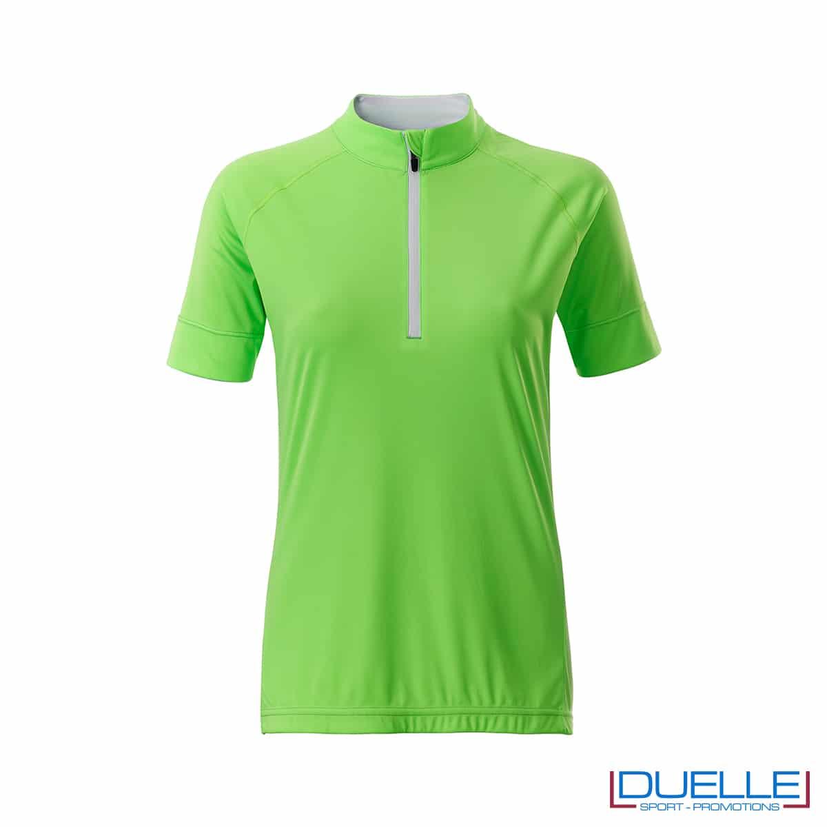 polo verde ciclismo femminile mezza zip