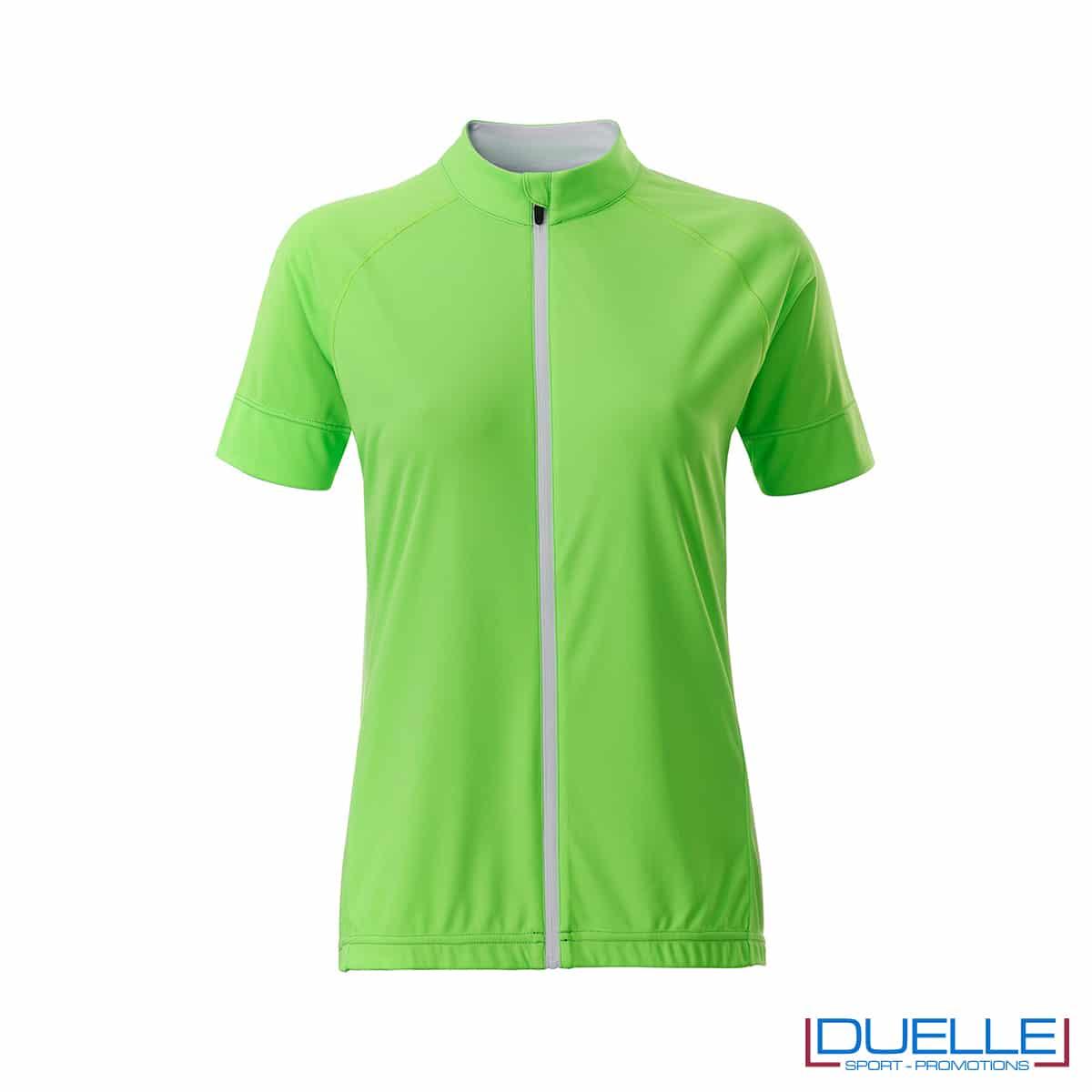 polo zip intera verde ciclismo femminile