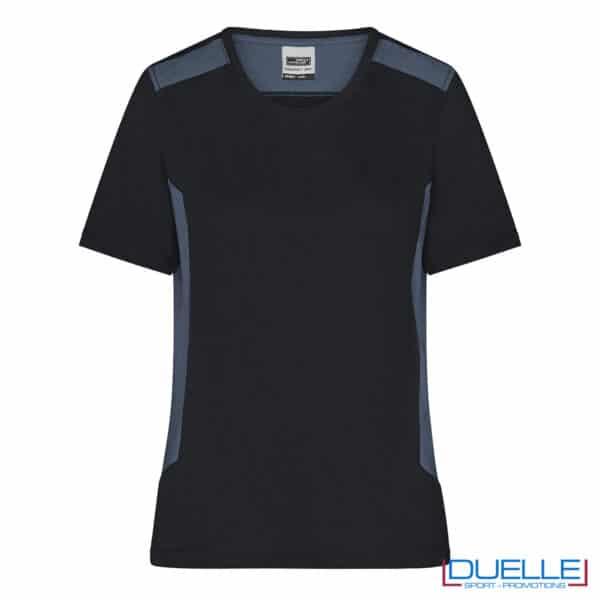 maglia nera professionale cotone e RPET da personalizzare per aziende