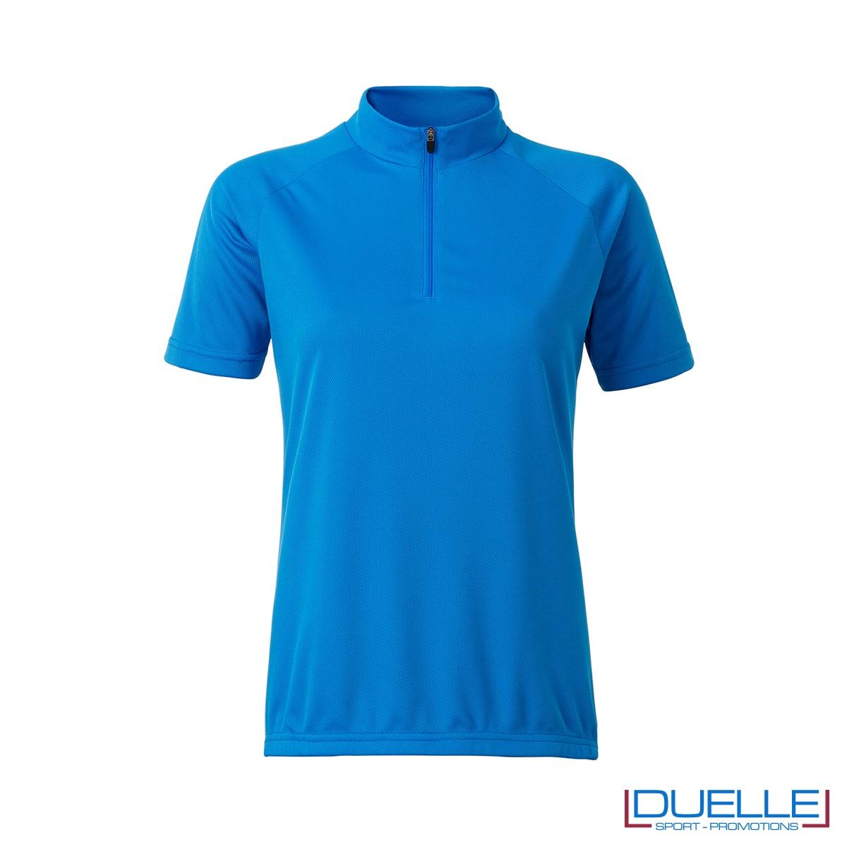 polo donna blu ciclismo femminile mezza zip