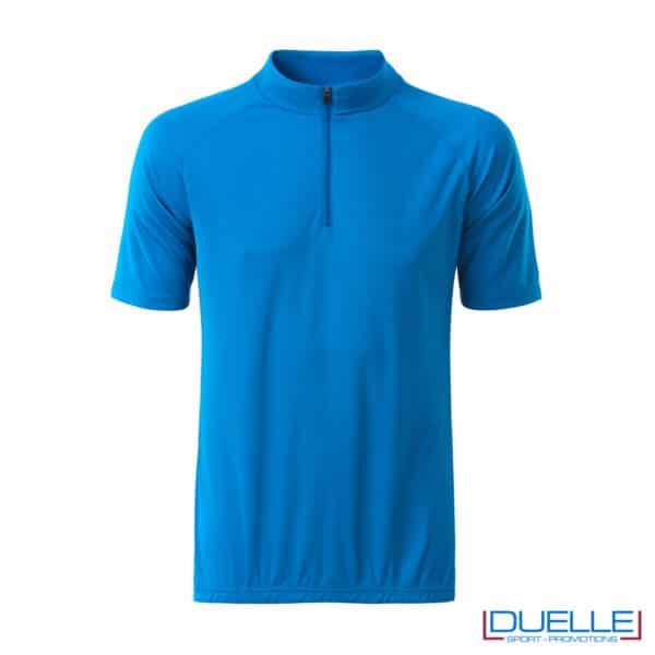 polo ciclismo uomo blu mezza zip