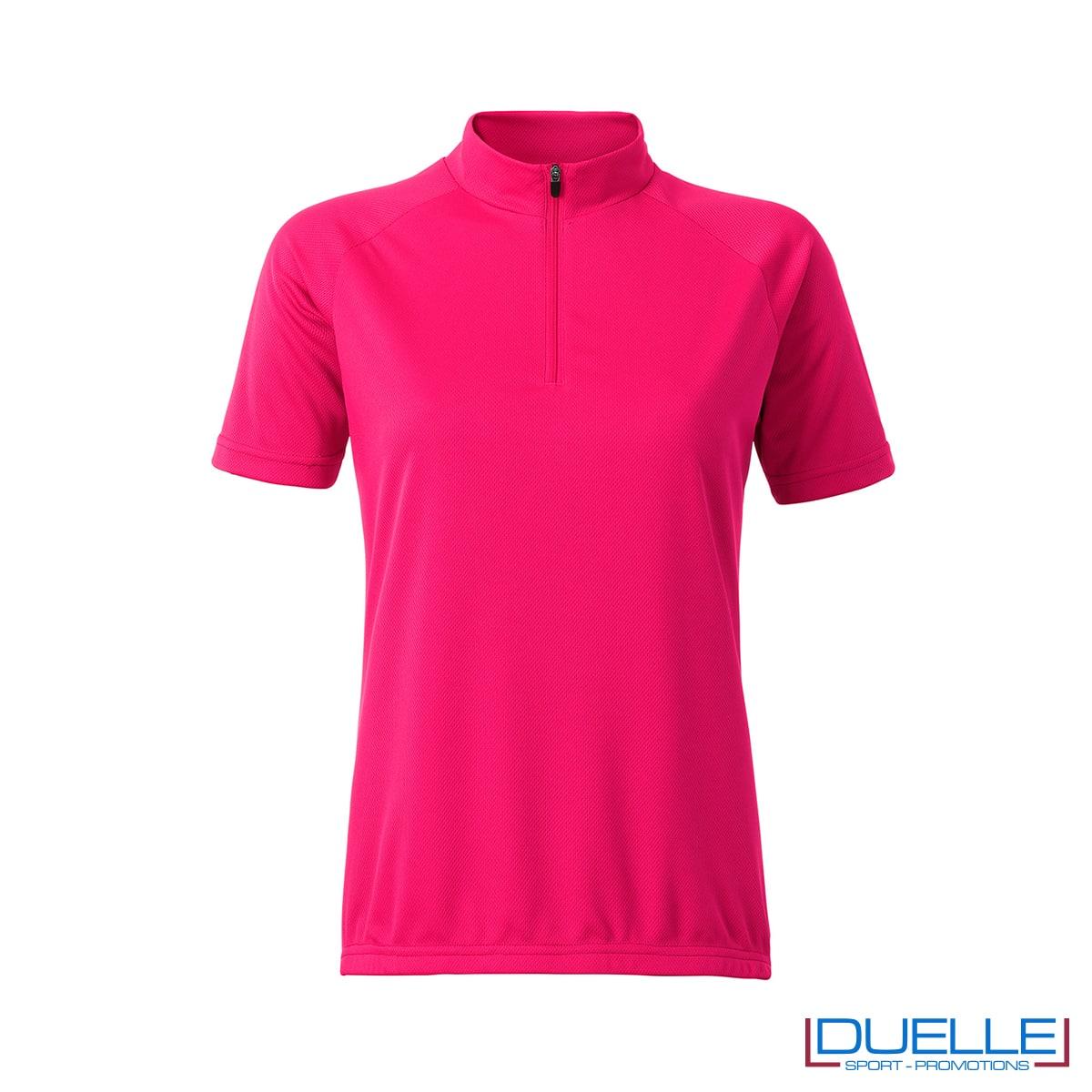 polo rosa ciclismo femminile zip corta