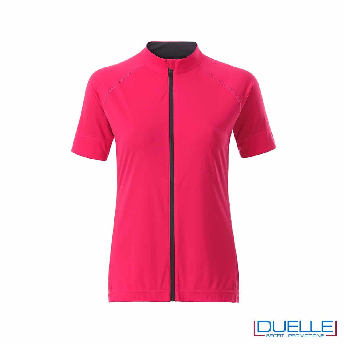 polo rosa da donna full zip per ciclismo