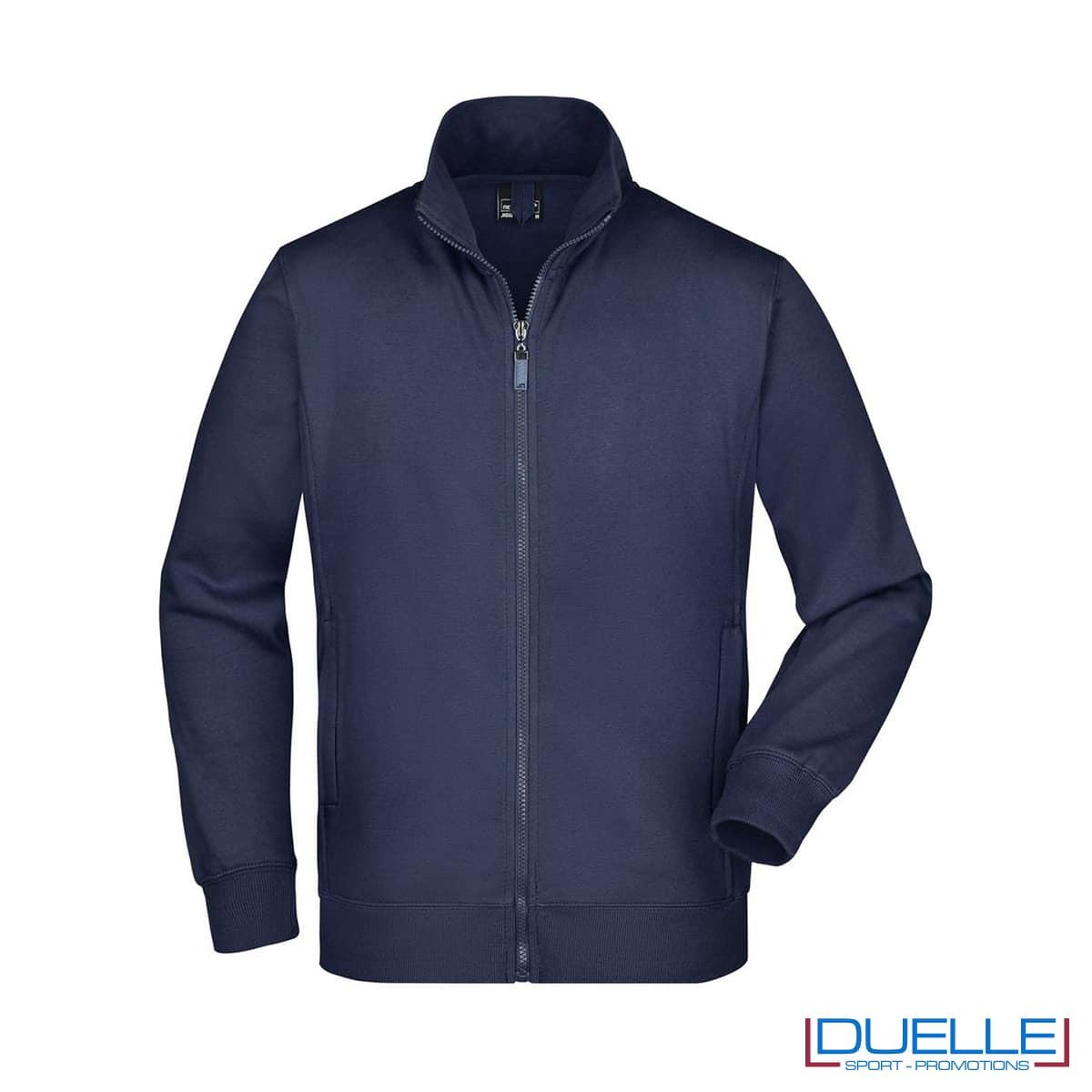 felpa uomo blu navy con zip 300g/m2