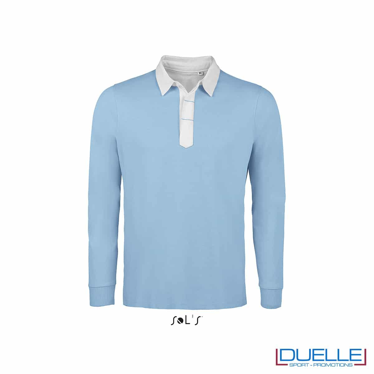 Polo in cotone azzurro con dettagli a contrasto