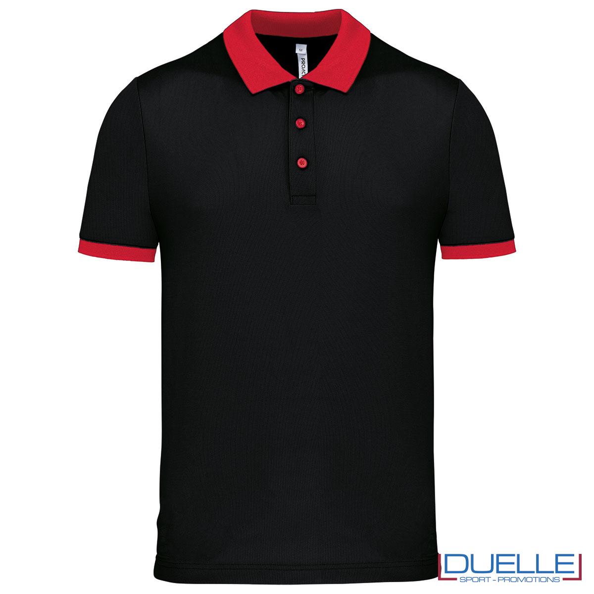 polo nera e rossa da uomo ultraleggera