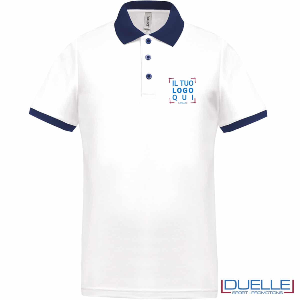 polo bianca da uomo dettagli blu navy con logo