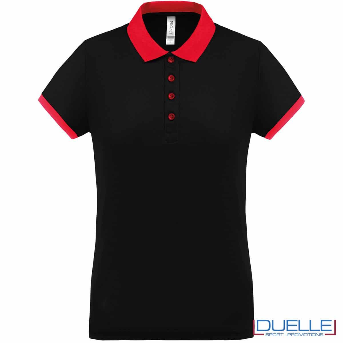 polo nera da donna cool plus con dettaglio rosso