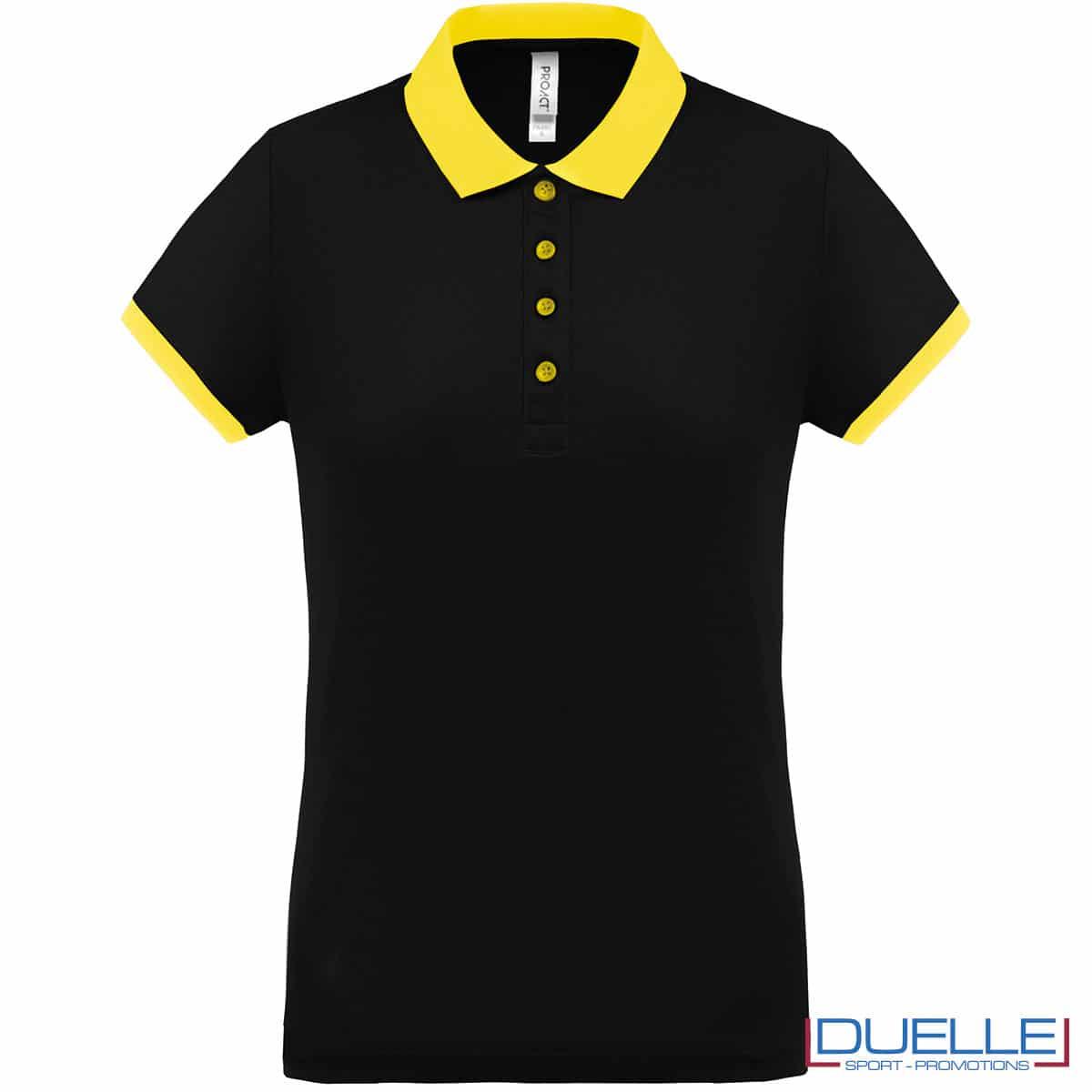 polo nera da donna con colletto giallo
