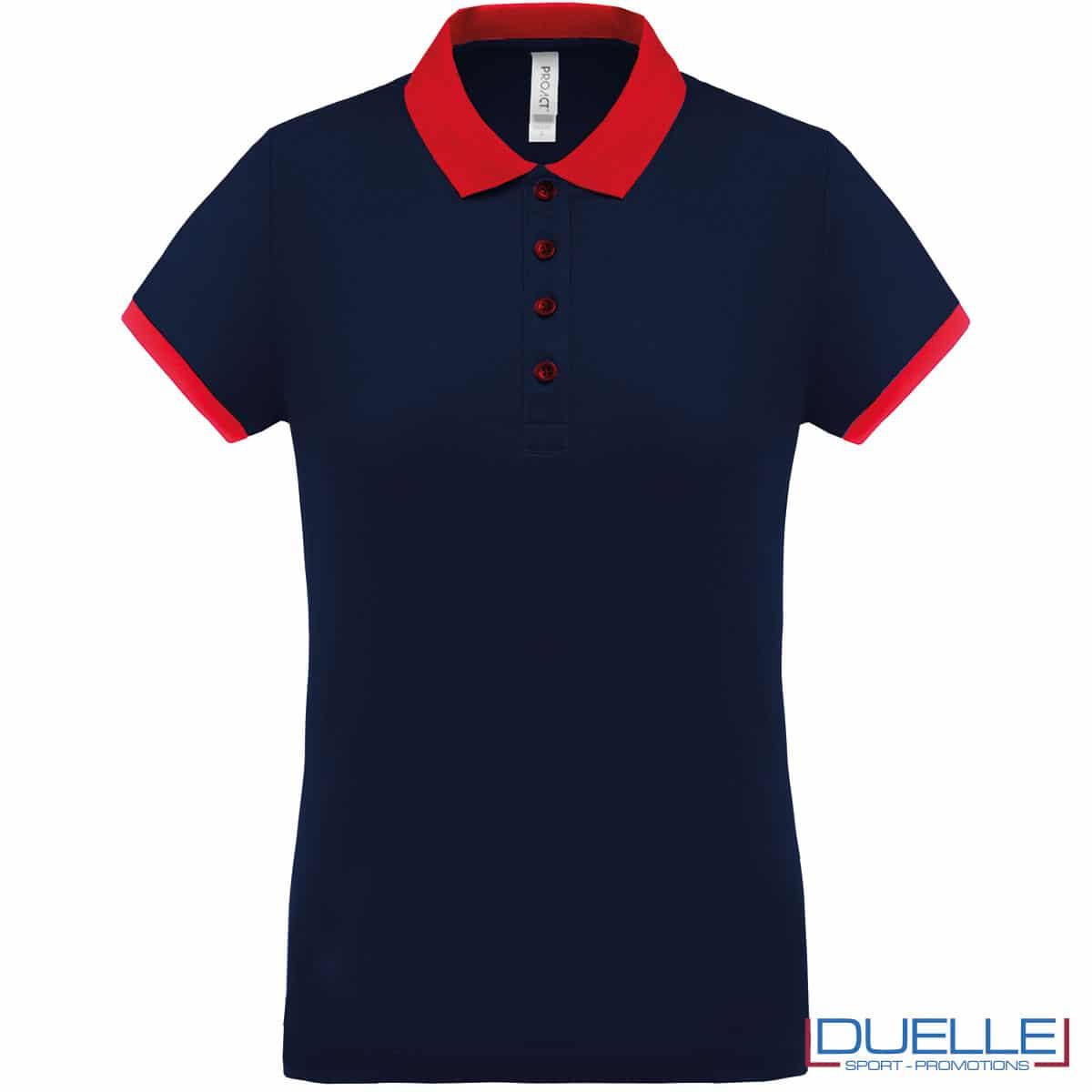 polo navy dettaglio rosso cool plus donna