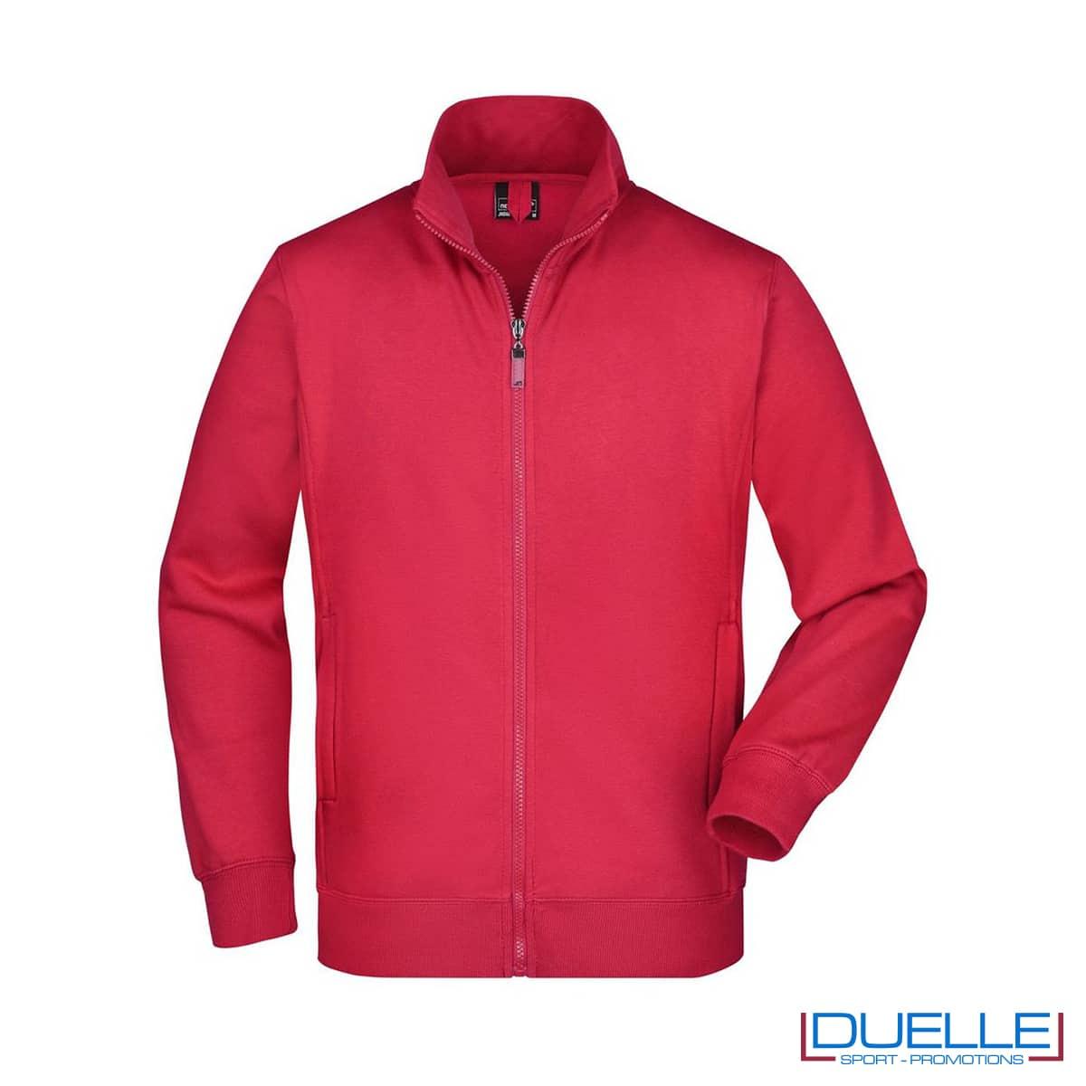 Felpa rossa uomo con zip lavabile 60°C