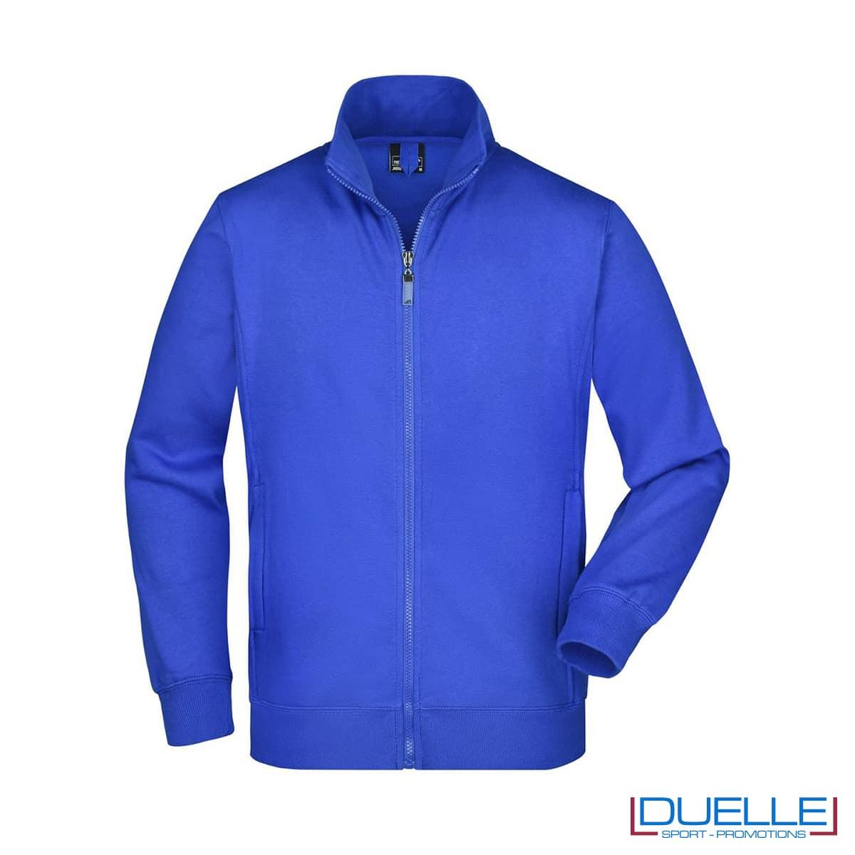 felpa blu royal da uomo resistente lavaggi intensivi con zip