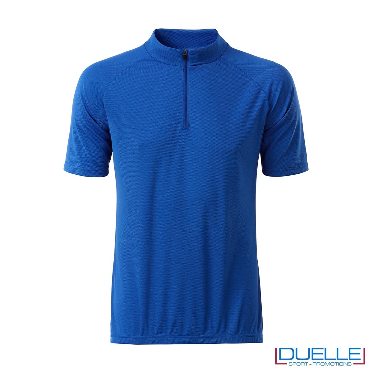 polo blu royal ciclismo maschile mezza zip