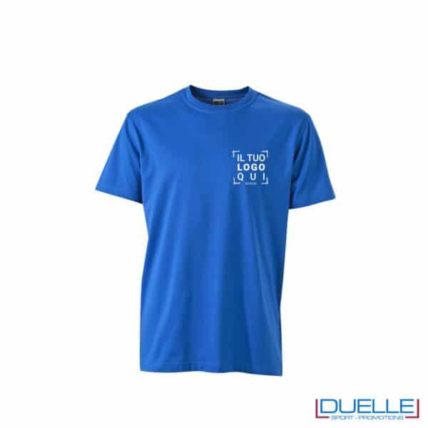 maglietta blu royal professionale resistente a lavaggi personalizzata