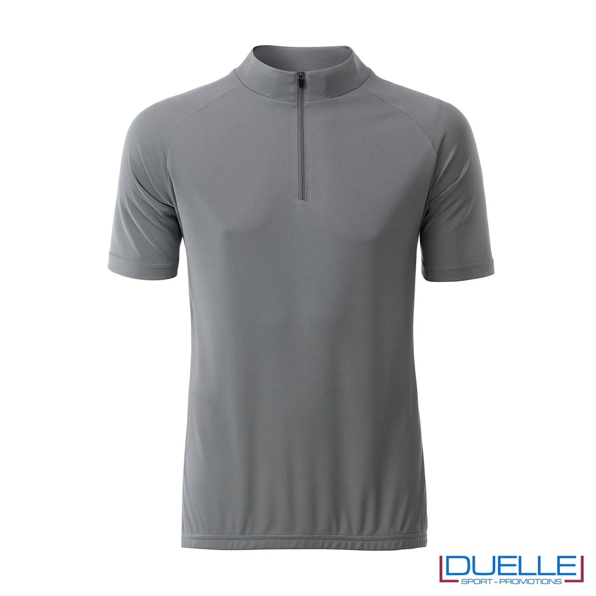 polo biking maschile mezza zip grigio