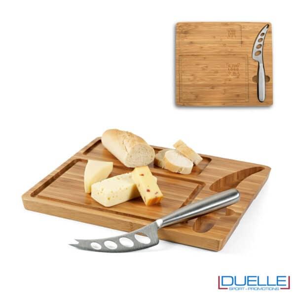 Tagliere per formaggi in bambù con coltello personalizzato