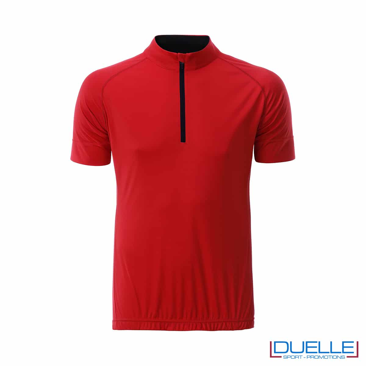 polo rossa maschile da biking mezza zip