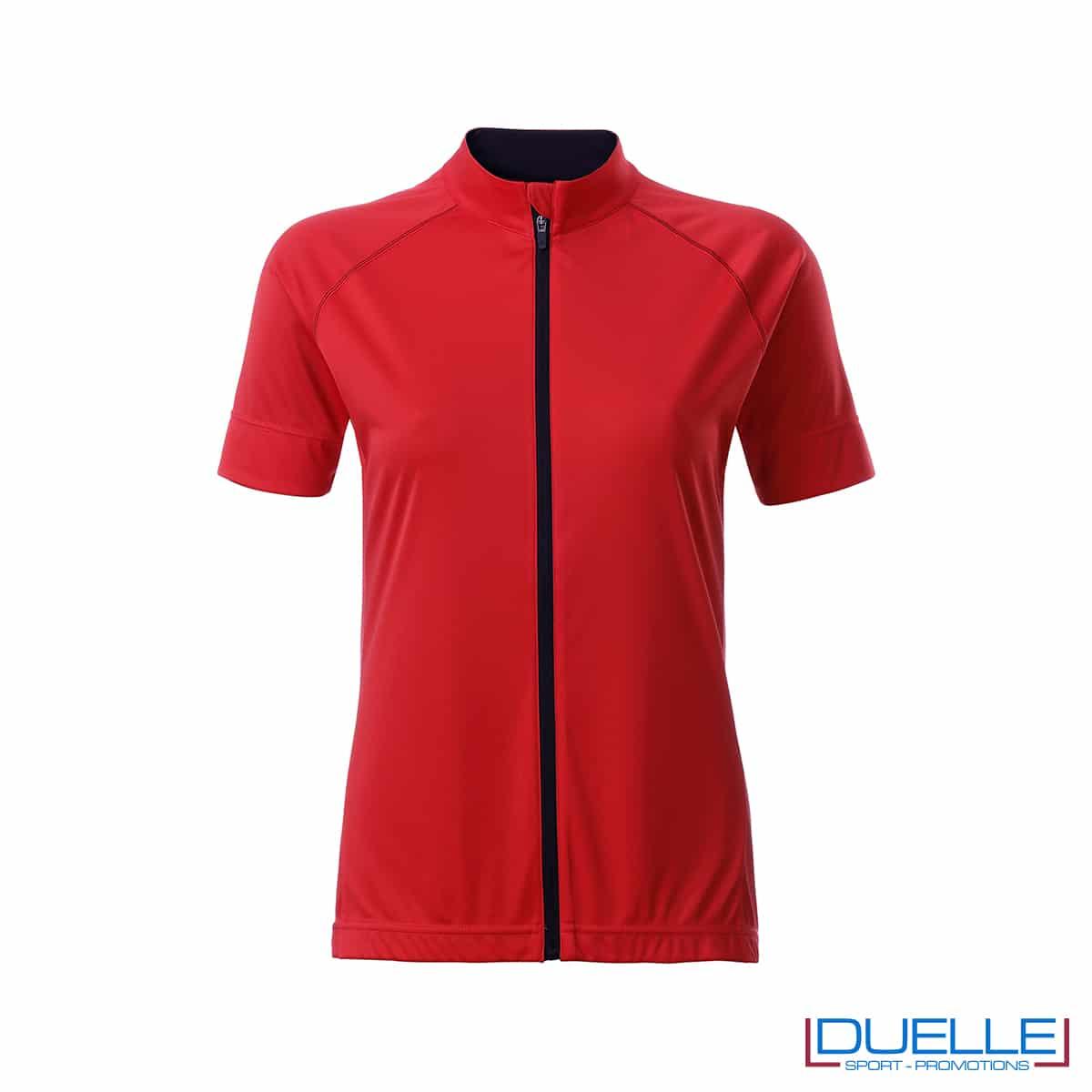 polo femminile ciclismo rossa full zip