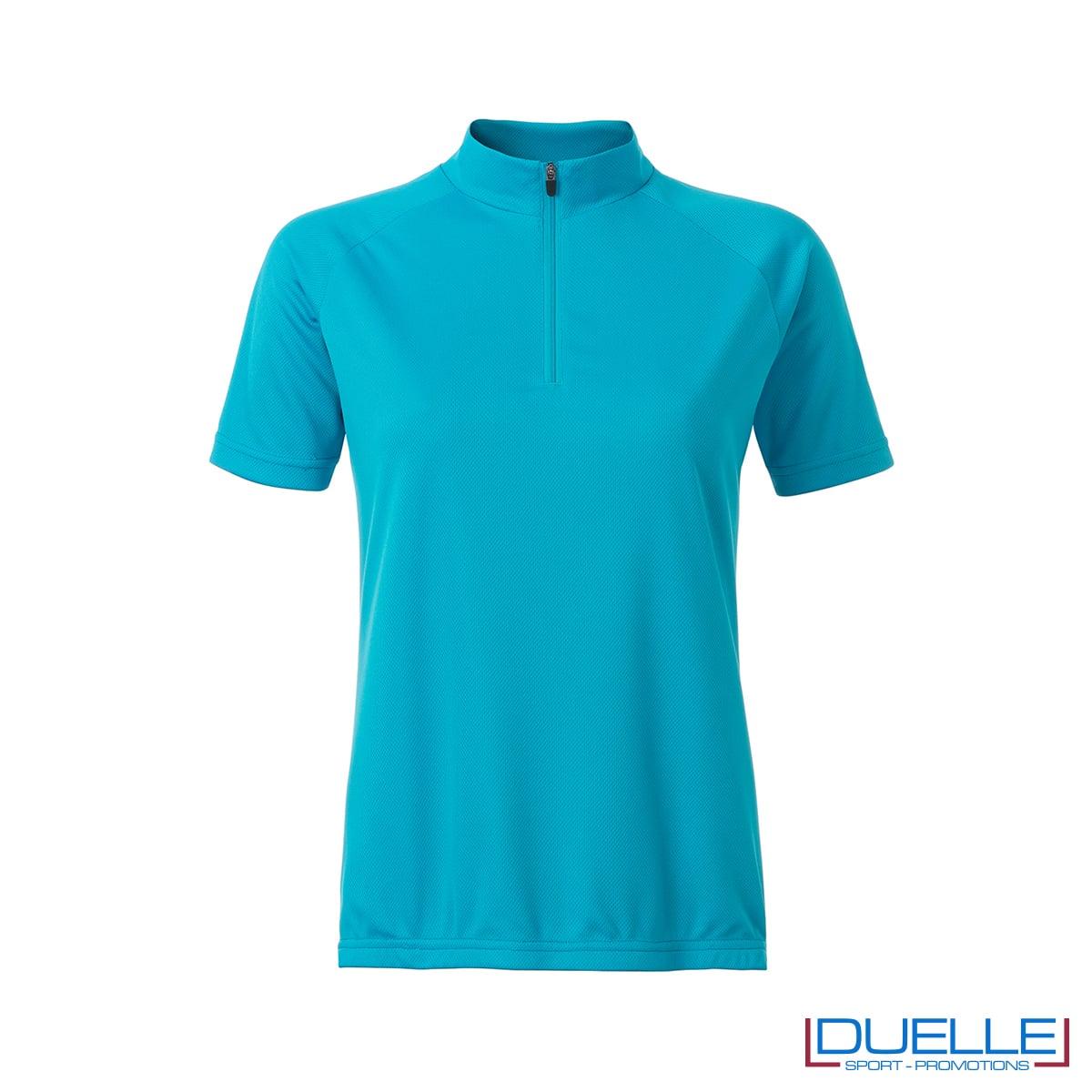 polo azzurra da donna per biking mezza zip