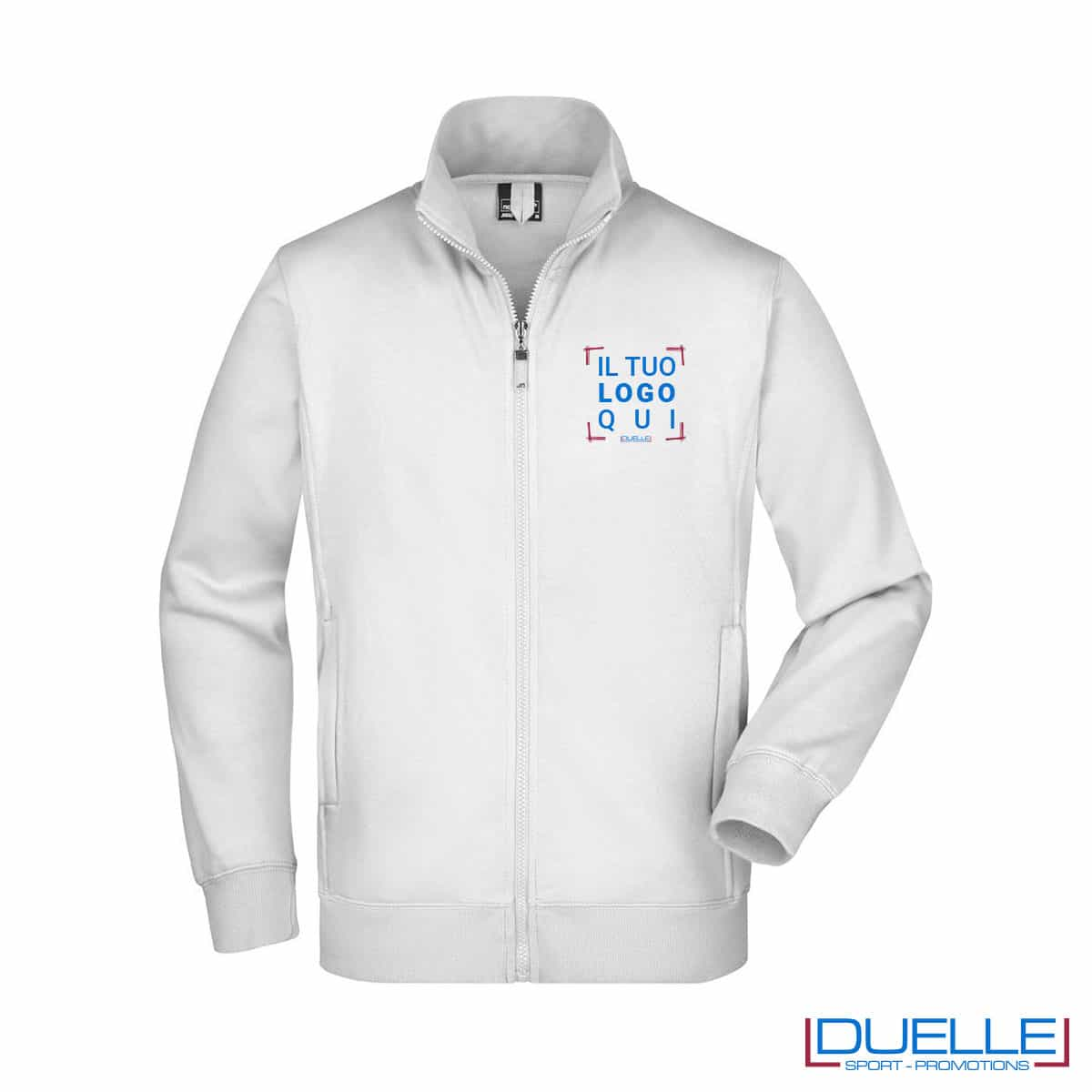 felpa bianca da uomo con full zip lavaggio intensivo da personalizzare