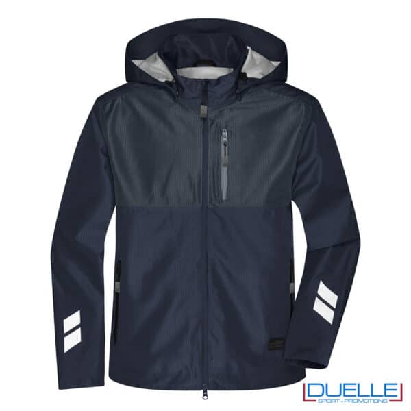 giacca softshell in r-pet navy-carbone