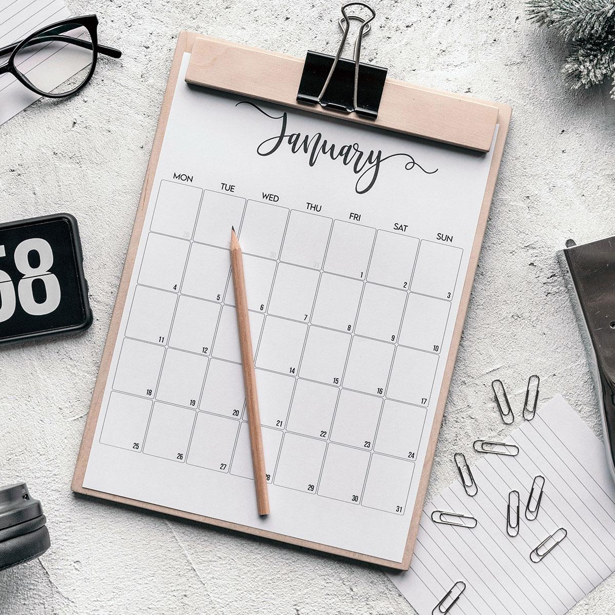 buona organizzazione con agende e calendari