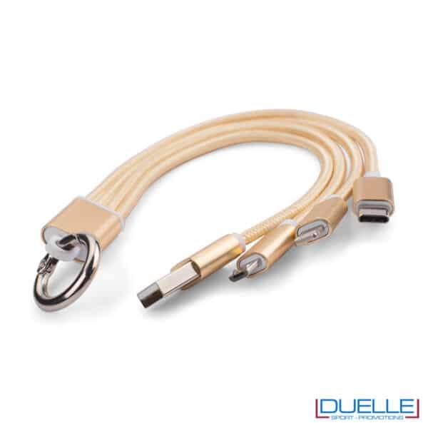 anello con 3 connettori color oro inciso a laser