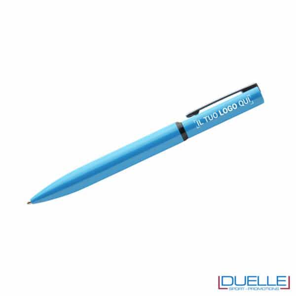 penna a rotazione colore azzurro personalizzata