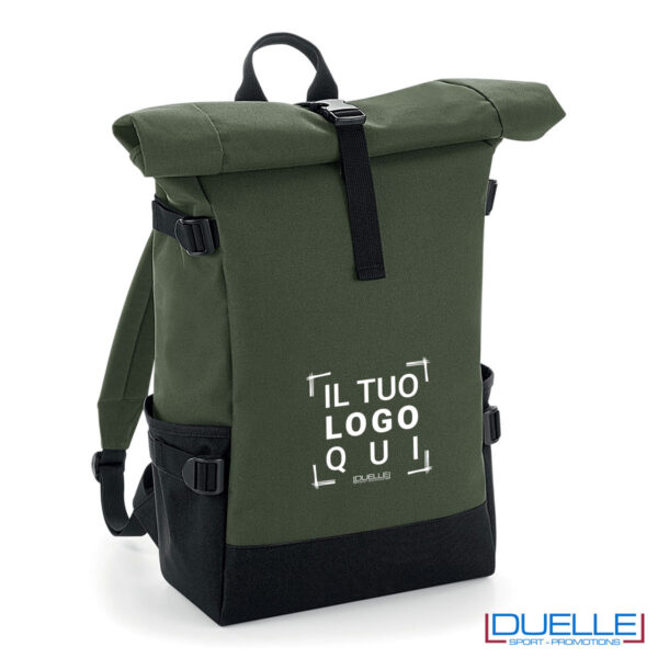 zaino verde roll-top porta pc personalizzato