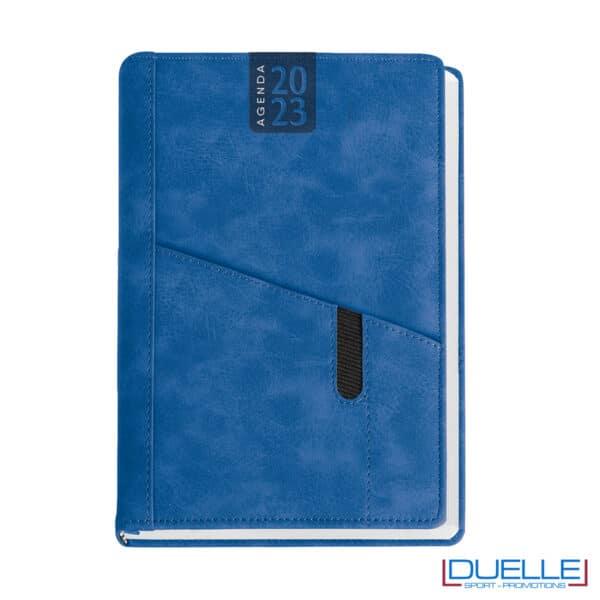 agenda con tasca colore blu royal da personalizzare