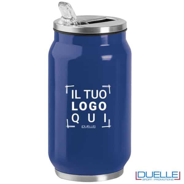 borraccia blu termica a forma di lattina personalizzata