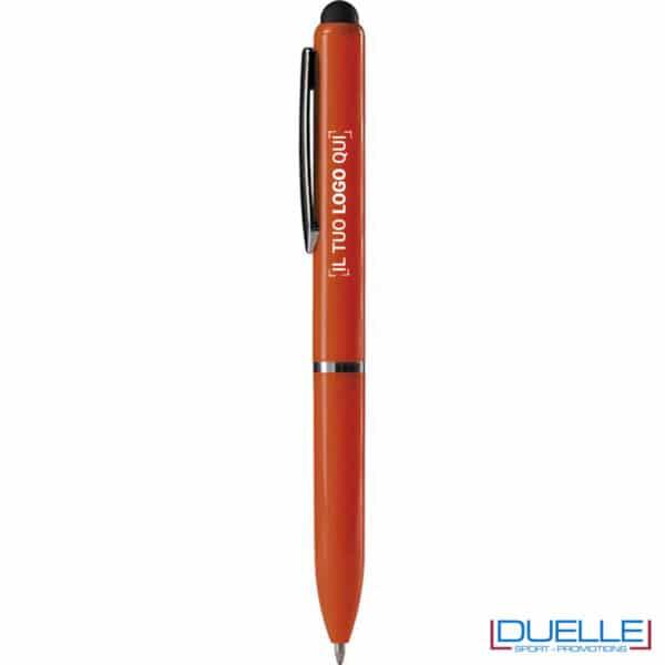 penna a sfera arancione con touch screen personalizzata